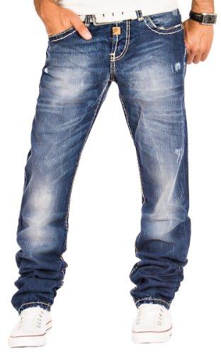 Cipo & Baxx Herren Jeans Cargo Denim Hose Chino Clubwear Verwaschen Dicke Naht Blau / L32 & L34 / W29 - W38 / C-0688 (W32/L32)