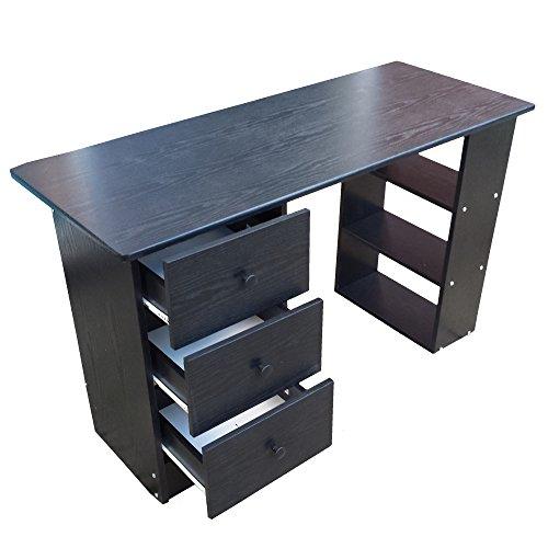 Redstone Schwarz Schreibtisch - 3 Schubladen + 3 Regale - Arbeitstisch Computertisch B�rotisch
