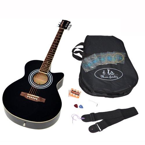ts-ideen Western Style 4/4 Akustik Gitarre mit Rosenholz und Zubeh�rset (gepolsterte Gitarrentasche, Gurt, Ersatzsaiten und Stimmpfeife) schwarz