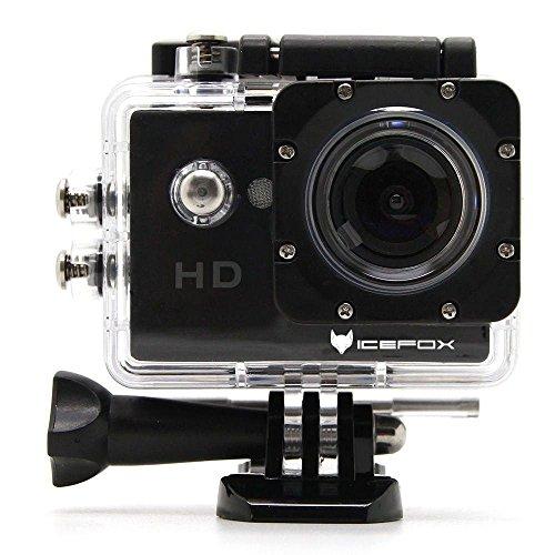 icefox� FHD Unterwasser-Action-Kamera, 12MP, 1080P, wasserdichte HD-Kamera mit 170� Weitwinkel, 1,5 Zoll-Display, 900mAh Batterie und Zubeh�r-Kitt f�r zum Tauchen, zumFahrrad fahren, zum Motorrad fahren und zum Schwimmen (Schwarz)