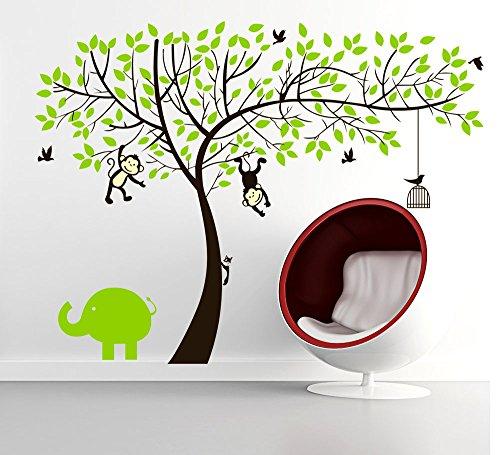 Rainbow Fox Affe und Elefant Spielen auf Riesenbaum-Wandtattoo Wandaufkleber f�r Kinderzimmer Dekoration (Gr�n)