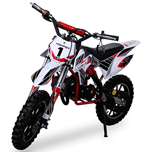 Kinder Mini Crossbike Gazelle 49 cc 2-takt inklusive Tuning Kupplung 15mm Vergaser Easy Pull Start verst�rkte Gabel Dirt Bike Dirtbike Pocket Cross rot/wei�