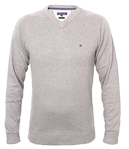 Tommy Hilfiger Herren Vneck Pullover CLASSIC HTR V-NK CF, Farbe:Grey;Gr��e:L
