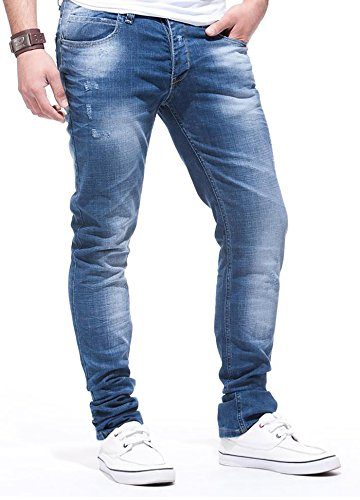 LEIF NELSON Herren Jeanshose Jeans Hose Chino low rise Skinny Slim Fit (W40/L32, Blau)