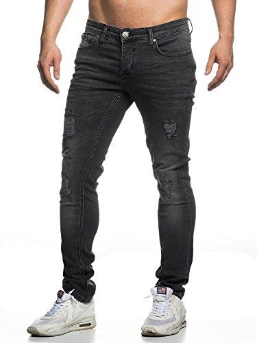 TAZZIO Slim Fit Herren Destroyed Look Stretch Jeans Hose Denim 16525 32/32