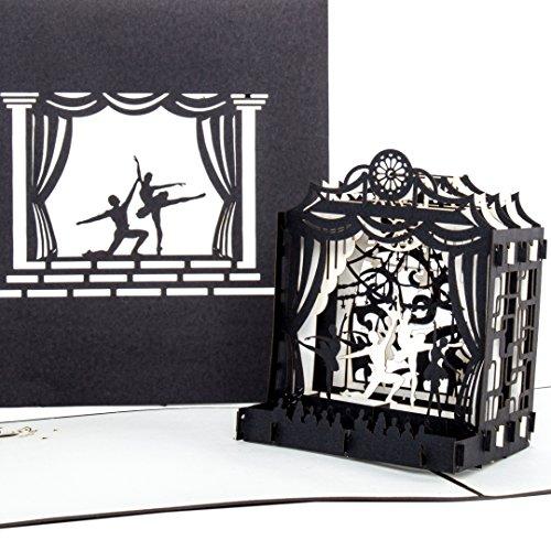 """Pop-Up Karte """"Tanz"""" T�nzer auf B�hne - Edle & Elegante Einladungskarte, Ballettkarte, Theaterkarte"""