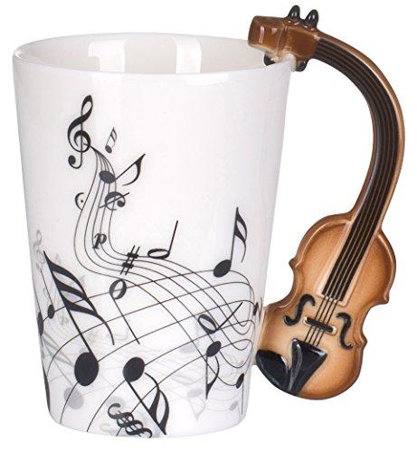 VENKON - Musik Keramiktasse mit Violine / Geige als Henkel und Noten Verzierung in hochwertiger Geschenkbox - 200ml