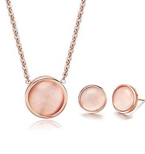 findout 14K Rose Gold �berzogenen Titanstahl Opal Bean-Anh�nger-Halskette + Ohrringe Set .F�r Frauen M�dchen