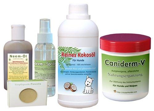 Neem�l + Kokosnuss, f�r Hunde, Hautset, bei Milben, Allergien, Ekzemen und anderen Hunde -Hautkrankheiten