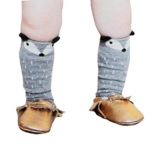 Generic Kleinkinder M�dchen Junge Fuchs Muster Kniestr�mpfe Socken (1-3 Jahre, Grau)