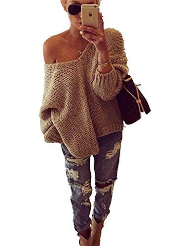 ASSKDAN Damen Herbst Winter Pullover Schulterfreies V Ausschnitt langarm Lose Longshirt Tunika Oberteile Oversize (M, Khaki)