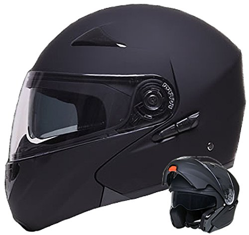 Klapphelm Integralhelm Helm Motorradhelm RALLOX 109 schwarz/matt mit Sonnenblende (S, M, L, XL) Gr��e XL