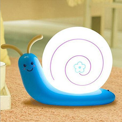 Signstek Schlafzimmer Nachttischlampe Niedlich Schnecke Nachtlicht USB aufladbar LED-Lampe mit USB-Ladekabel f�r Baby Kinder (Blau)