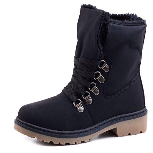 Damen Winter Schn�r Boots Schuhe Stiefel mit Kunstfell in Lederoptik warm gef�ttert Schwarz 40