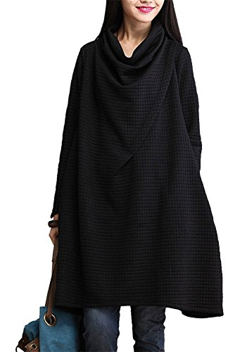 Mode Damen Pullover Sweatshirt - LOSORN ZPY Wasserfall- Ausschnitt Kleid Pulli Langarm (XXL, Schwarz)