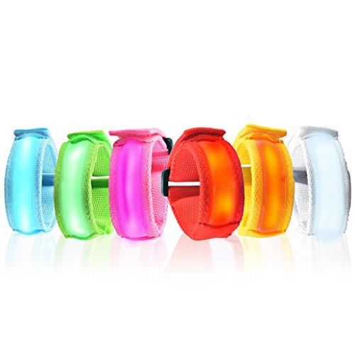 Esonstyle� 6-Pack von LED Armband LED Klaps-Band-Glow Armband Nacht Sicherheitshandgelenkband f�r das Wandern Joggen Radfahren Laufen Konzert Camping Outdoor Sports Wandern (20CM)