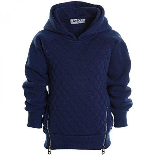 Kinder Pullover Kapuzenpullover Hoodie Jacke Sweatshirt Kapuzen Sweatjacke 20526, Farbe:Navy;Gr��e:140