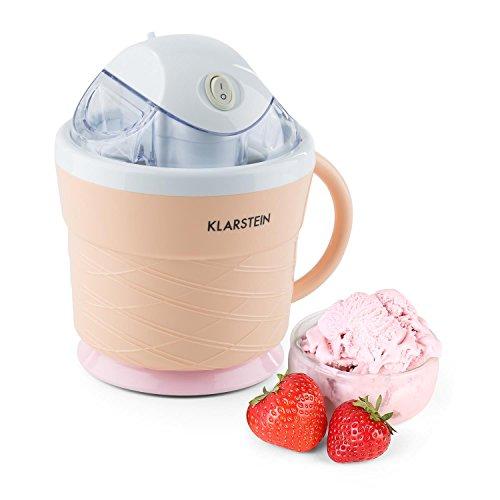 Klarstein IceIceBaby Eiscremebereiter Eismaschine Eiswaffel-Design mit Henkel 0,75 Liter (sparsamer Energieverbrauch: 7,3 - 9,5 Watt, Eiscreme in weniger als 30 Minuten) cremeorange