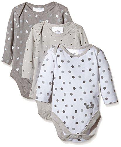 Twins Unisex Baby Langarm-Body im 3er Pack, Gr. 74, Mehrfarbig (micro chip 144105)