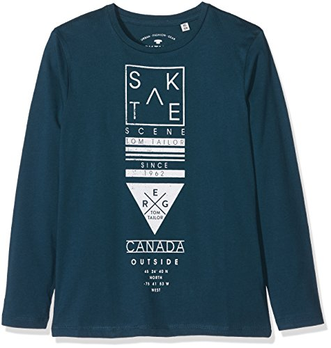 TOM TAILOR Kids Jungen T-Shirt Skate Scene Longsleeve, Gr�n (Deep Pond Green 7633), 152