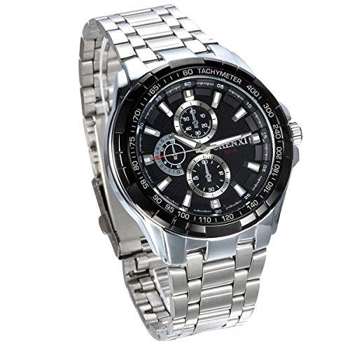 JewelryWe Herren Armbanduhr, Analog Quarz, Klassische Fashion Business Casual Sport Uhr mit Edelstahl Armband