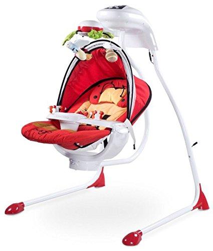 Bugies Babyschaukel Babywippe Schaukelwippe drehbarer Sitz Timer elektronisches Mobile mit Lichern