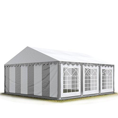 Partyzelt Pavillon 4x6m, hochwertige 500g/m� PVC Plane in grau-wei�, 100% wasserdicht, vollverzinkte Stahlkonstruktion mit Verbolzung