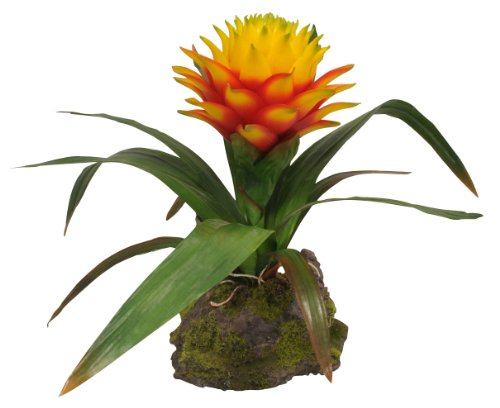 Lucky Reptile IF-22 Bromelie Kunststoffpflanze / Plastikpflanze mit Fu�, mittel, gelb