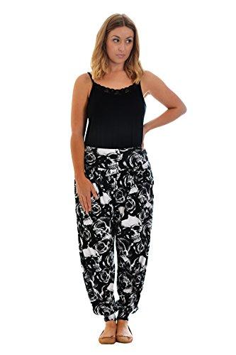 Nouvelle Damen Plus-Size Totenkopf & Roses Haremshose Schwarz 52-54