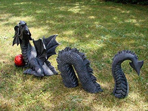 Gro�er 3 teiliger Drache mit Kugel Dragon Figur Gartenfigur