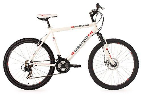 KS Cycling Fahrrad Mountainbike Hardtail Carnivore RH, Wei�, 26 Zoll, 540M