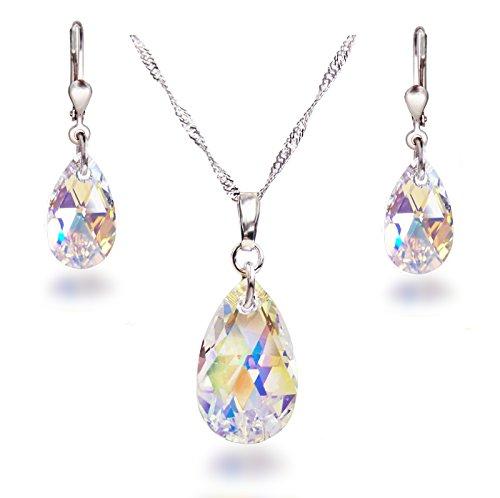 Sch�ner SD, Schmuckset mit Swarovski� Kristall Tropfen in Crystal Aurora Boreale, 925 Silber Rhodium