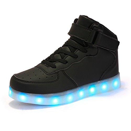 AFFINEST Hoch oben USB aufladen LED Schuhe blinken Fashion Sneakers f�r Kinder Jungen M�dchen Halloween Weihnachtsgeschenke (EUR38, Schwarz)