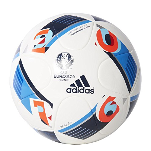 adidas Ball EURO 2016 Junior 350, White/Bright Blue/Night Indigo, 5, AC5426
