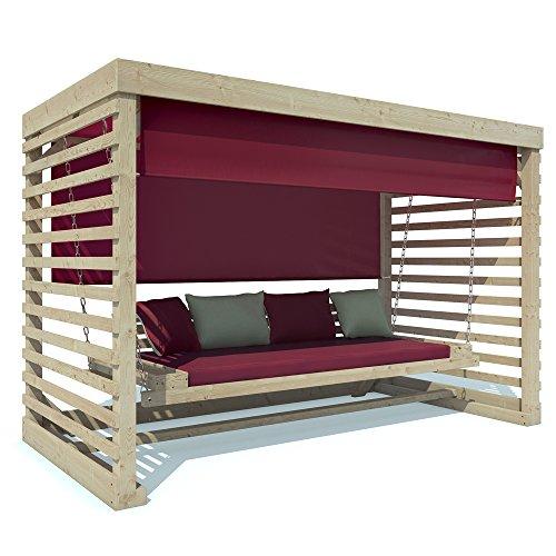 Hollywoodschaukel Tiffany Holz Gartenschaukel Schaukelbank Gartenm�bel 4-Sitzer (Auflagen in cherry)