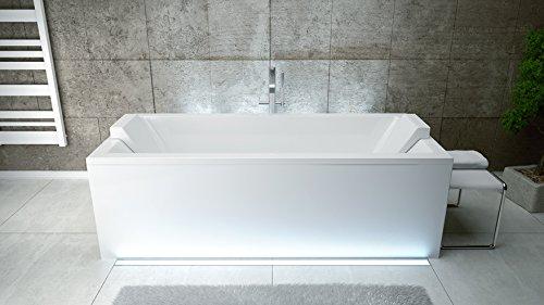 EXCLUSIVE LINE� Rechteck Acryl Badewanne QUADRO 180x80 mit Ablauf Viega Simplex Sch�rze und 2x Kopfst�tze