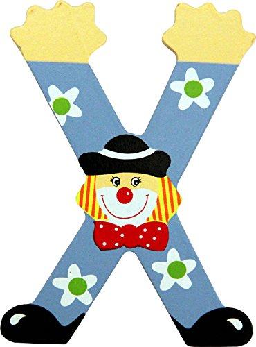 Holzbuchstaben und Zahlen- Clowns - mit Klebepad in zuf�lliger Farbe - Rimini Baustoffe� - Ideal f�r T�ren und Schr�nke (Buchstabe X)