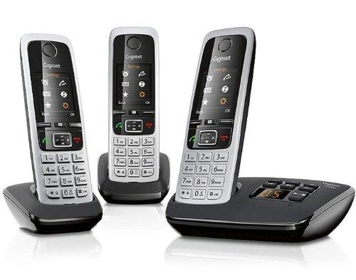 Gigaset C430 A Trio Schnurlostelefon mit 3 Mobilteilen (4,6 cm (1,8 Zoll) TFT-Farbdisplay, Freisprecheinrichtung, Anrufbeantworter) schwarz