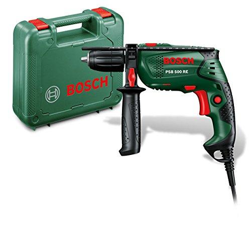 Bosch DIY Schlagbohrmaschine PSB 500 RE, Tiefenanschlag, Zusatzhandgriff, Koffer (500 Watt, max. Bohr-�: Holz: 25 mm, Beton: 10 mm)
