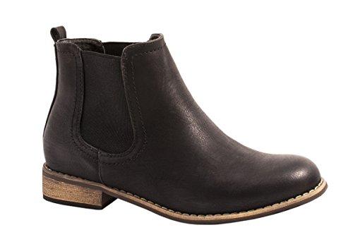 Elara Chelsea Boots | Bequeme Damen Stiefeletten | Lederoptik Blockabsatz Gr��e 37, Farbe Schwarz