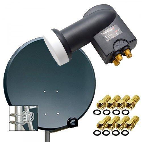 PremiumX Digital SAT Anlage 80 cm Stahl Sch�ssel Spiegel Antenne Anthrazit + PremiumX Quad LNB PXQS-SE 0,1dB f�r 4 Teilnehmer + 8 F-Stecker 7mm vergoldet