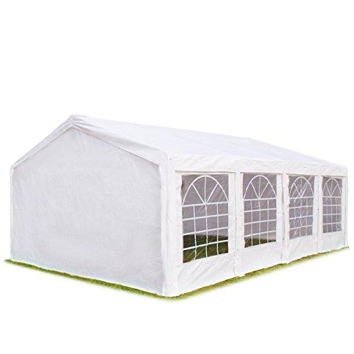 Hochwertiges Zelt Partyzelt 4x8 8x4 m Pavillon 240g/m� PE Plane ! Stahlkonstruktion ! Inkl. 8 Seitenteile + 2 Giebelteile mit Eingang ! wei�