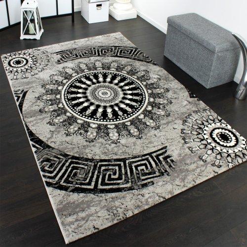 Teppich Klassisch Gemustert Kreis Ornamente in Grau Schwarz Meliert, Gr�sse:80x150 cm