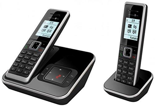 Telekom Sinus A206 Duo - analoges Schnurlostelefon mit Anrufbeantworter und zus�tzlichem Mobilteil, 20 Min Speicherdauer AB, Grafikdisplay - schwarz mit silber