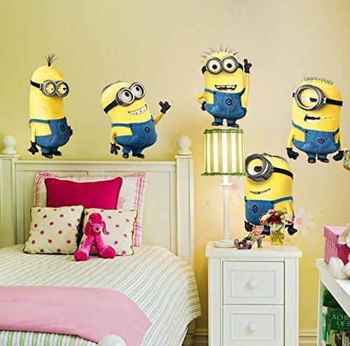 Abnehmbare Wandaufkleber 5 Minions Despicable Me Kinderzimmer Dekoration - Gro�