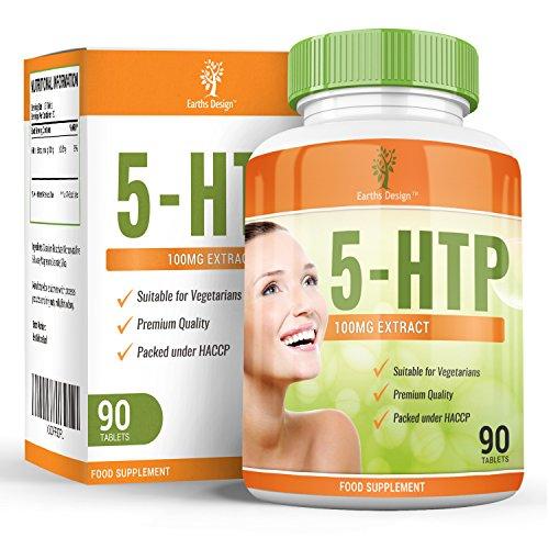 5 HTP, Tryptophan, Rein Nat�rliches Schlafmittel das Gesunden Schlafmuster unterst�tzt, Erh�ht auf Nat�rliche Weise den Serotoninspiegel, HTP hilft gegen Depressionen und Angstzust�nde - 90 Tabletten