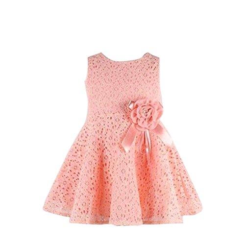 Kleid M�dchen (0-7 Jahre alt) Kolylong 1PC Blumenspitze Prinzessin Party Kleid (110(3-4 Jahr), Rosa)