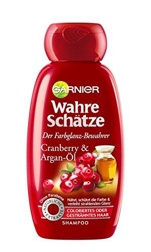 GARNIER Wahre Sch�tze Shampoo / Intensive Haarpflege bis in die Spitzen / Sch�tzt die Haarfarbe (mit Argan-�l & Cranberry - f�r coloriertes oder gestr�hntes Haar - ohne Parabene) 1 x 250ml