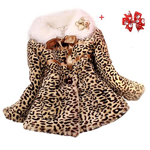 Tonsee Baby M�dchen Prinzessin Faux Pelz Leopard Kleidung Kind warme Jacke Snowsuit Winterbekleidung (1-2 Y)