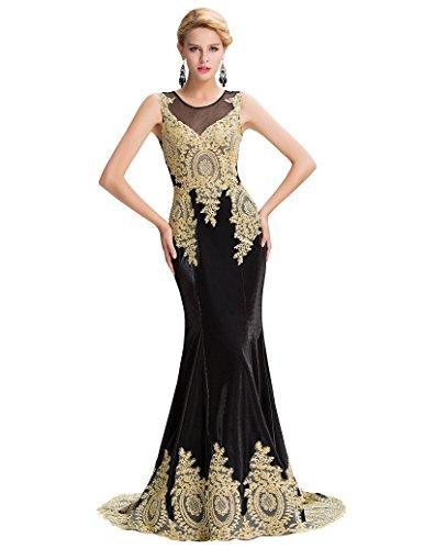 Yafex Damen Etui Meerjungfrau Langes Ballkleid Abendkleid Mit Applikation ZYGK000026 (44, Schwarz A)